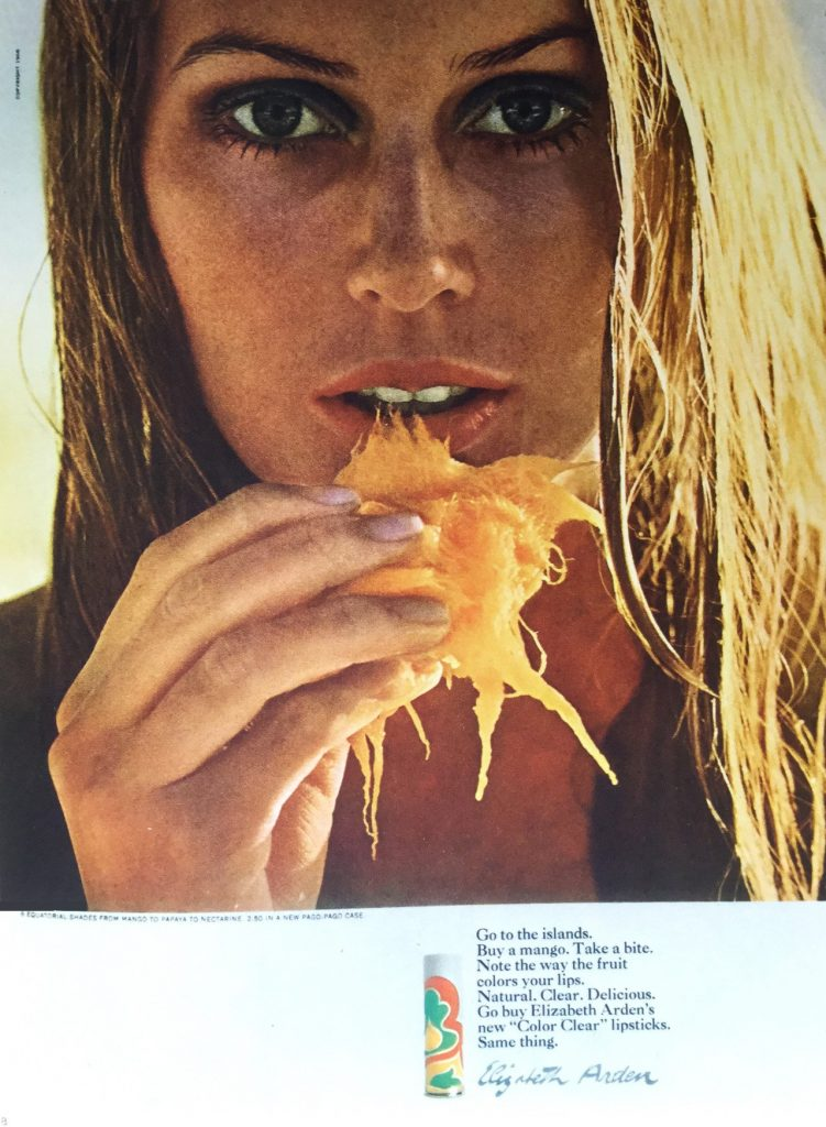Henry Wolf's iconic photograph of a young woman eating a mango for Elizabeth Arden. Be a genius too.